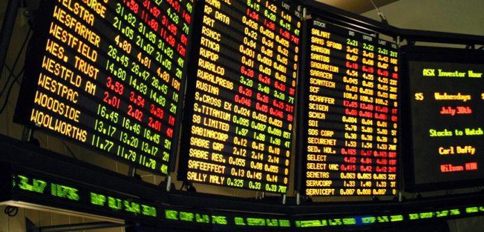 painel de ações da bolsa de valores