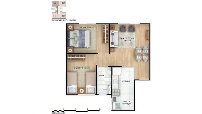 Planta baixa do apartamento com 2 quartos