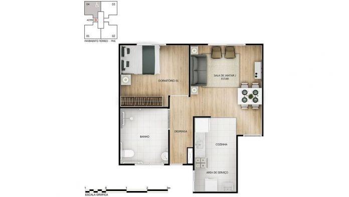planta baixa do apartamento com 1 quarto